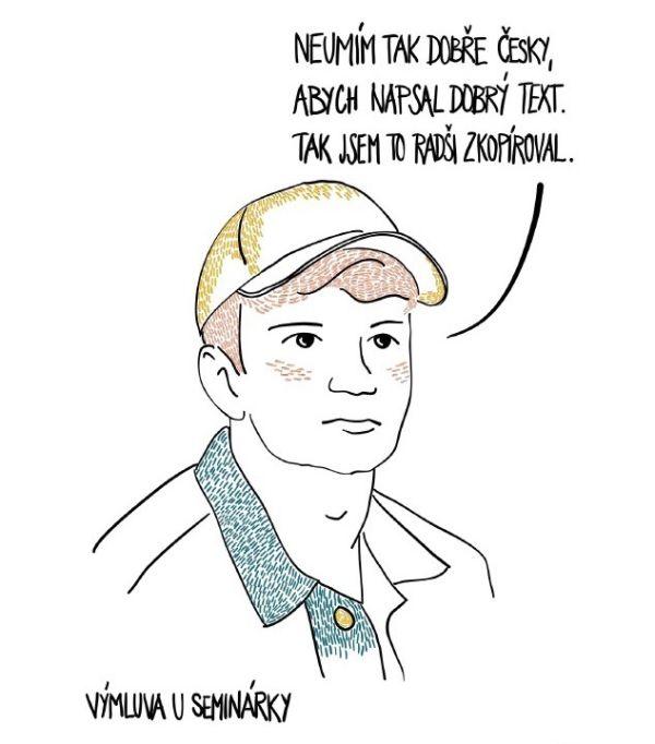Ilustrace zpříručky Jak se vyhnout plagiátorství.