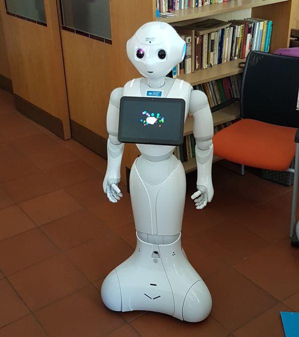 Robot Pepper. Design zroku 2012, výška: 120 centimetrů, váha: 28 kg, vprovozu vydrží až jeden den. Cena hardwaru: 500 tisíc korun českých, software zatím není komerčně dostupný.