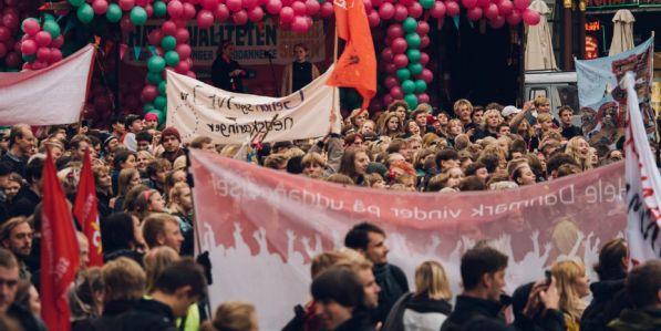 Tisíce studentů vcelém Dánsku protestovaly 5. října.
