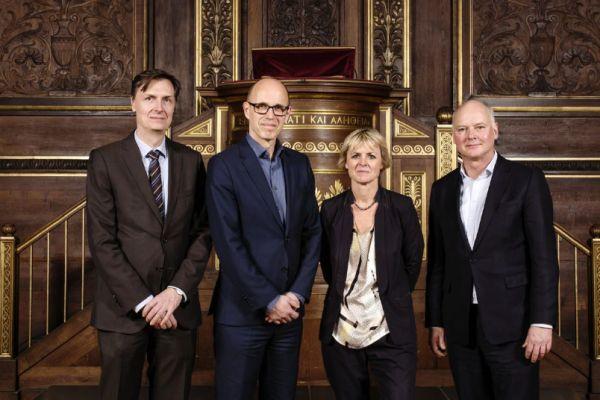Vedení kodaňské univerzity vroce 2017 (zleva doprava): ředitel univerzity Jesper Olesen, rektor Henrik C. Wegener, prorektorka Lykke Friis aprorektor Thomas Bjørnholm.