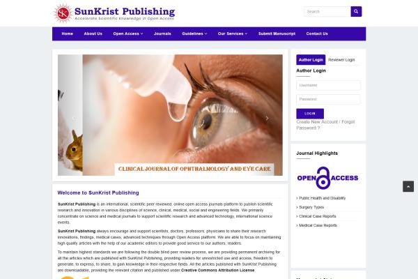 Screenshot webu vydavatele SunKrist Publishing, kterého Jeffrey Beall označuje jako jednoho zpredátorských vydavatelů.